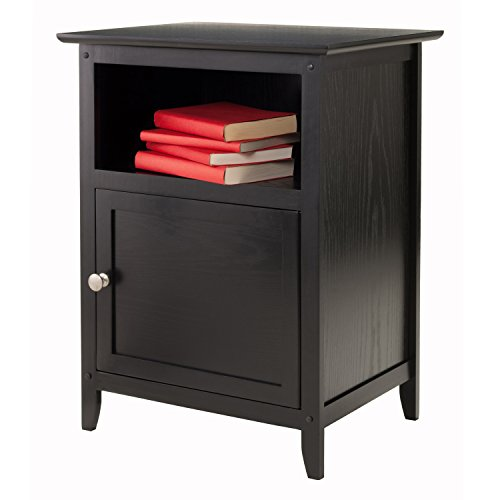 Winsome wood end table night stand with door and shelf for Black wood end tables