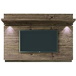 "Manhattan Comfort Park 1.8 Collection Floating Wall Entertainment Center TV Panel with LED Lights, 71"" L x 8.4"" D x 49.6"" H, White Gloss"