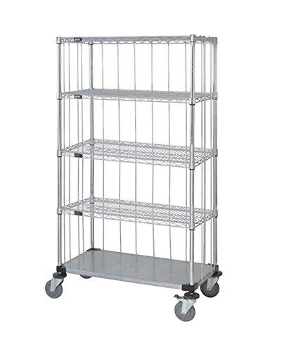 - Quantum 3 Sided Stem Caster Wire Shelf Cart 74