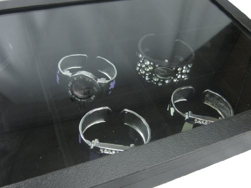 Black Velvet 12 Compartment Counter Glass Top Lid Display Case / Tray / Box /Organizer / Holder for Jewelry Retail Shop
