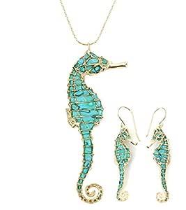 Joyas marineras turquesa - Conjunto el oro con collar y