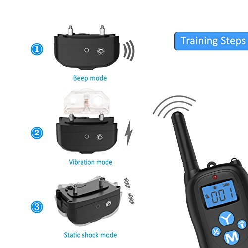 ALZN Remote Controlled Dog Training Collar, 330 Yards Rechargeable and Waterproof IP67 Dog Shock Collar with Beep, Vibration and Shock Electronic Collar-All Size Dogs(7-26Inches)