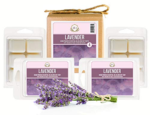Aira Soy Wax Melt - Organic, Vegan, Kosher, Scented Soy Wax Cubes w/Essential Oil Blends - No Chemical 100% Soy Tart for Electric/Tealight Melters - Hand-Poured Soy Tarts - Lavender - 4 Pack