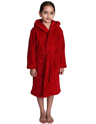 TowelSelections Little Girls' Robe, Kids Plush Hooded Fleece Bathrobe Size 6 (Child Red Hooded Robe)
