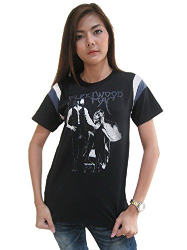 Bunny Brand Women's FLEETWOOD MAC RUMOURS Rock Punk Music Hockey T-Shirt Black (Unbroken Sheet)