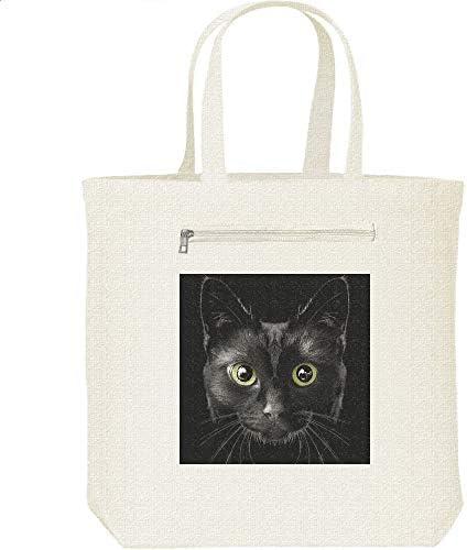 エムワイディエス(MYDS) 暗闇の黒猫/キャンバス トートバッグ・ファスナー ポケット付