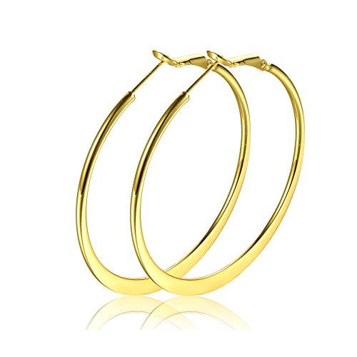 50mm Basketball Flattened Hoop Earrings 14K Gold For Girls Womens Nice Gift (gold)