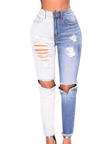 Haute Skinny Femme Patchwork Keephen Couleur Jean Bleu Taille q74tw