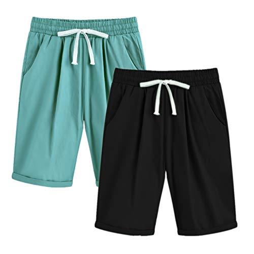 Waist Elastic Two Pocket (Yknktstc Womens Casual Elastic Waist Knee Length Curling Bermuda Shorts with Drawstring with Drawstring Large 2 Pack)