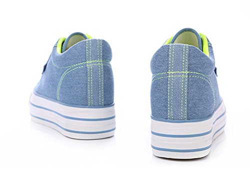 Aisun Damen Basic Canvas Unsichtbar Erhöht Low Top Schnürsenkel Fashion Sneakers Denim Blau(Gelb)