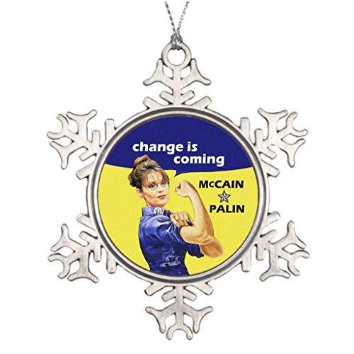 Yilooom Large Christmas Tree Snowflake Ornaments Change is Coming McCain Sarah Palin 08 Election Change is Coming The Christmas Snowflake Ornament