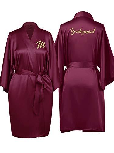 SIORO Womens Silk Satin Robes Bridesmaid Bridal Shower Personalized Bathrobe Bride Short Kimono Loungewear,Burgundy Plus Size -
