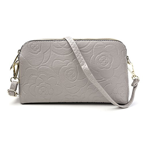Bags Evening fo Leather Clutch Grey Artificial Bags Women Cross Flower Embossing 1zIXZnqUx