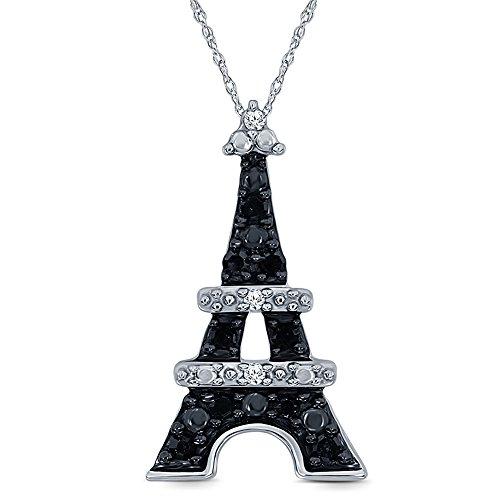 La Joya 1/10ct Round Black White Diamond 10K White Gold Diamond Accent Love Eiffel Tower Pendant Necklace for Womens - Gold Tower Diamond Eiffel