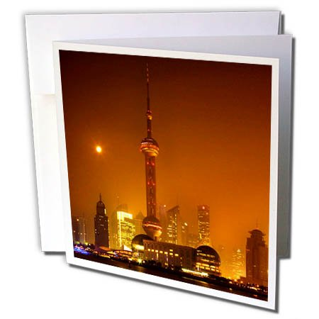 3dRose Danita Delimont - Cities - Skyline at Night in an orange Haze, Pudong, Shanghai, China - 12 Greeting Cards with envelopes (gc_257133_2) (Pudong Shanghai China)