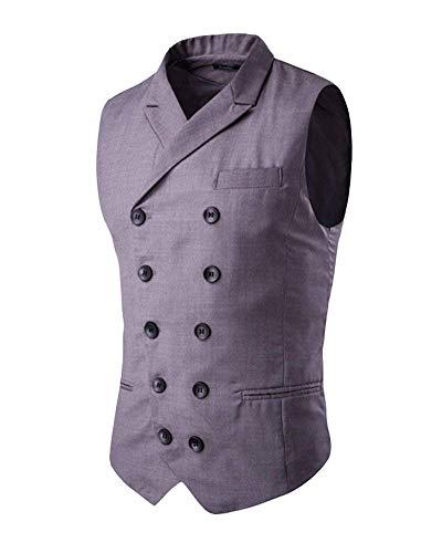 Hommes Double Blazer Slim Formel Retro Gentleman Veste Mode Grau Casual Business Costume Seins Fit Homme Gilet 8qxawq7