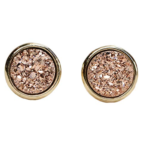 Rose Gold Druzy Stud Earring- real drusy gemstone- round small studs- 7mm