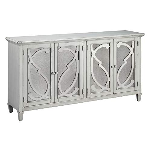 Ashley Furniture Signature Design - Mirimyn 4-Door Accent Cabinet - Distressed Gray Finish - Mirrored Scrolled Filigree Doors - French Country Oak Armoire