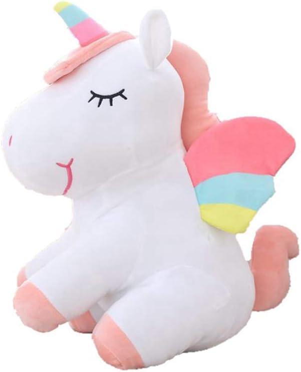 WENTS Peluche de Unicornio Juguete Peluche de Unicornio Cojines de Peluche del Sofá y Cama Juguete Regalo de Cumpleaños para Niños Blanco y Rosa