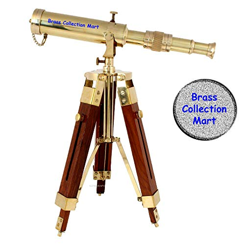 Brass Collection Mart Vintage Brass Telescope on Tripod Stand use DF Lens Antique Desktop Telescope for Home Decor & Table Accessory Nautical Spyglass Telescope for Navy and Outdoor Adventures