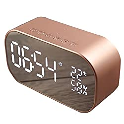 Per Clock Digital Multifunction Watches Small Table Alarm Clock Charge USB or Batteries Simple Style Modern Car BT Speaker-Rose Gold