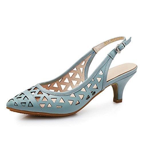 PUMPS Leder Heels,Stöckelschuhen,ein Wort der Gezeiten Schnalle Die Spitze der Baotou Hohlen Sandalen-D Fußlänge=21.8CM(8.6Inch)