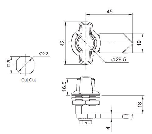 Ajile - Fl/ügel Hebelschloss mit Kopf aus Kunststoff SCHWARZ 2 Stk VEC418