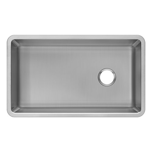Zuhne 32 Inch Under Mount Single Bowl 16 Gauge Stainless Steel Kitchen Sink with Offset Drain & Tight Corners (Fits 36 Inch Cabinet) (Large Single Kitchen Sink)