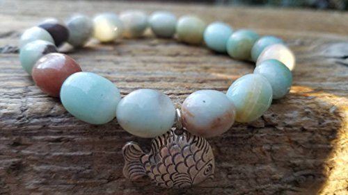 Amazonite Stretch Bracelet and Hill Tribe (Hill Tribe Silver Fish)