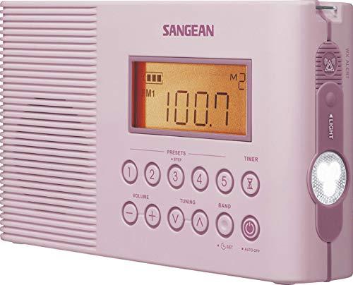 Sangean H201 Portable AM/FM/Weather Alert Digital Tuning Waterproof Shower Radio Pink