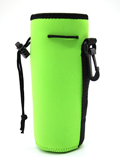 Neoprene Bottle Carrier Nylon Bottle Sleeve for 20 oz/ 600 ml Glass Water Bottle Great for Stainless Steel and Plastic Bottles, Sport and eddy .6L Water Bottle (GREEN) (20 Oz Neoprene Bottle)