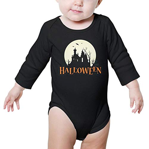LUnBa Halloween Happy Logo Newborn Black Outfits Long Sleeve Jumpsuits Cotton Rompers -