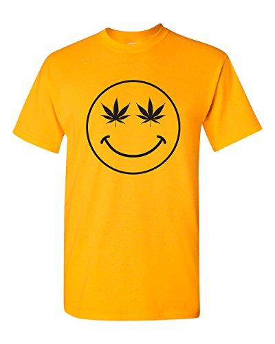 Strange Cargo Tees Weed Smiley Face Happy Pot Marijuana 420 T-Shirt S Gold