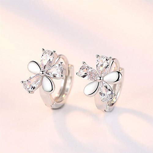 8Ninegift 925 Silver Shiny CZ Cute Flower Hoop Earrings Baby Girl Women Beautiful Huggies Party Earring Gift