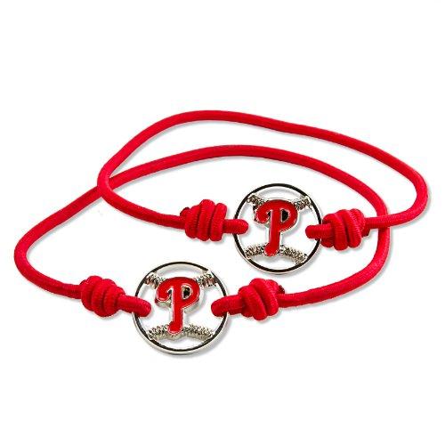 MLB Philadelphia Phillies Stretch Bracelet & Hair Tie, 2-Pack