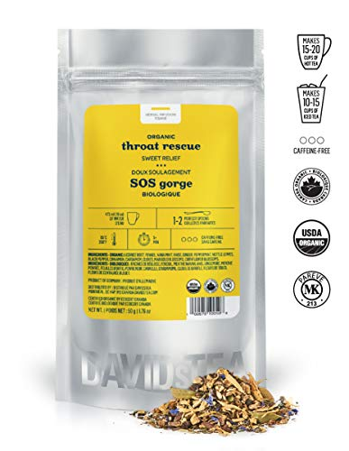 DAVIDsTEA Organic Throat Rescue Loose Leaf Tea, Premium Soothing Herbal Tea with Licorice Root and Mint for Sore Throat, 2 ounces / 50 grams