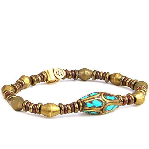 BeachBu Designer Jewelry The Paradise Cove Bracelet in Brass - African Trade Bicone Beads with Brass, Copper and a Turquoise Copal Inlay Natural Semi-Precious Gemstone Stretch Cord 7-7.25 inches