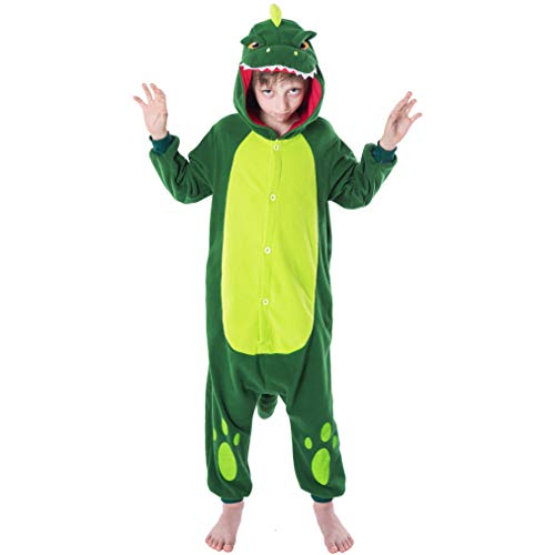 Spooktacular Creations Unisex Child Pajama Plush Onesie One Piece Dinosaur Animal Costume (7-10yr) ()