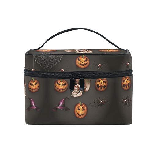 Women Halloween Skull Spider Cosmetic Bag Organizer Zipper Makeup Bags Pouch Toiletry -
