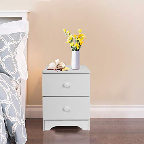 Steel Locker End Base - XGao Nightstand Wooden 2 Storage Drawers Assemble End Table Storage Cabinet Bedside Locker for Living Room Bedroom Kid's Room Storage Accent Home Funiture (White)