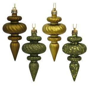Finial 4 Finish - Vickerman 4 Finish Finial Ornaments, 4-Inch, Dark Olive, 8-Pack