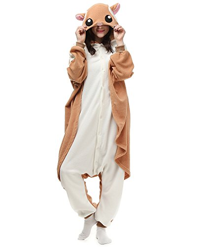 [Adult Flying Squirrel Onesie Halloween Kigurumi Costume Pajamas Partywear Outfit for Women Men S] (Animal Costumes Coupon Code)