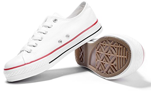Unisex Adults CVS Comfort School Fashion Exclusive Urban Street Goth Style Basketball Lowtop Low Top Canvas Sneakers Trainers All Star Chuck Shoes for Mens Guys Ladies Womans 40 US Size 7.5 White Canvas Mens Sneakers
