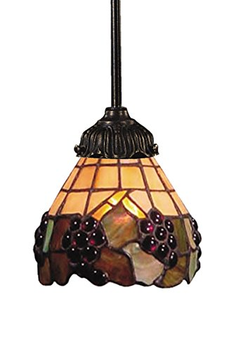 Tiffany Three Grapevine Light - Elk 078-Tb-07 Grapevine Mix-N-Match 1-Light Pendant, 23-1/2-Inch H, Tiffany Bronze
