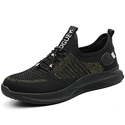 CVAYU Steel Toe Safety Work Shoes for Men and Women,Mesh Breathable Lightweight Puncture-Proof Slip Resistant Industrial Construction Sneakers