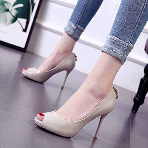 Mouths Shoes Naked Platform Fish color Heeled Women'S 8Cm High Fresh Small Fine Shoes SFSYDDY Spring Waterproof Autumn ZT6P4