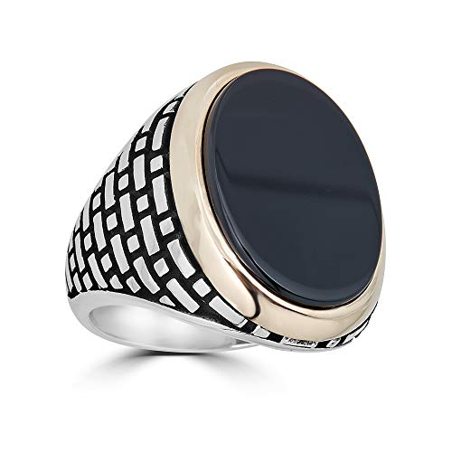 Harlembling Solid 925 Sterling Silver Mens Black Onyx Ring - Size 7-13 (7)