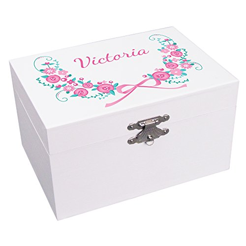 Personalized Vintage Floral Garland Ballerina Jewelry Box (Vintage Boxes Jewlery)