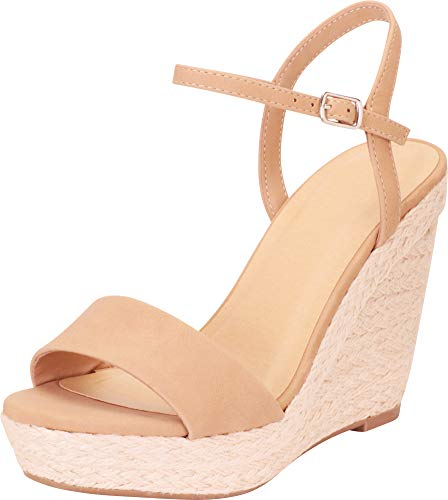 Cambridge Select Women's Open Toe Chunky Espadrille Platform Wedge Sandal,9 B(M) US,Natural NBPU