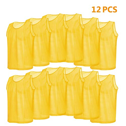 Dilwe 12Pcs Football Vest Adults Breathable Premium Polyester Soccer Scrimmage Team Practice Vests Size:64(L) x 54cm(W) Yellow